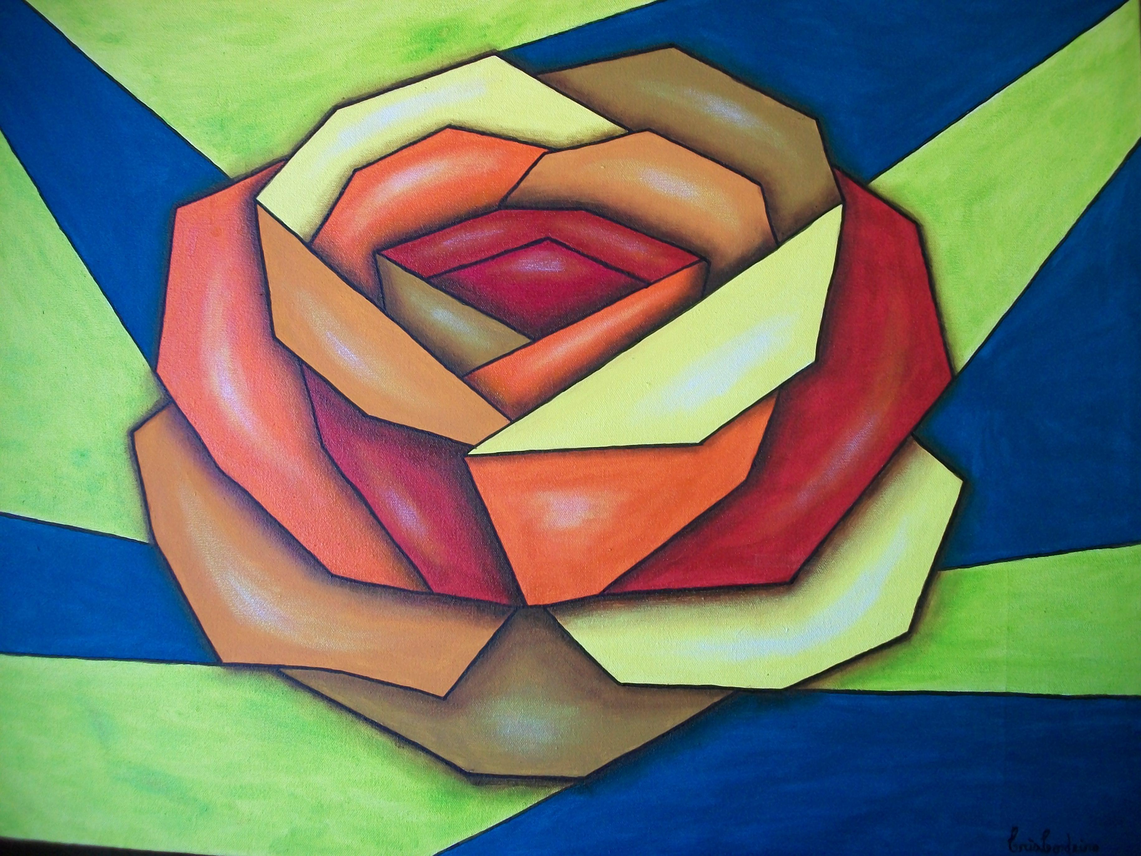 Quadro Rosa Cubismo Frete Gr Tis Ateli Cris Cordeiro