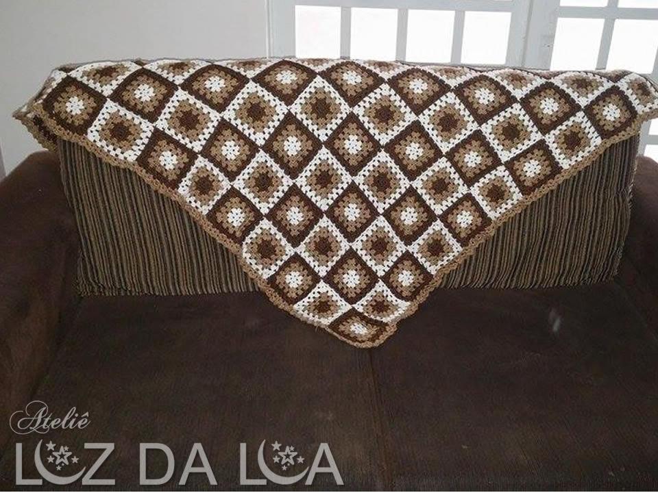 manta para sofa em crochê xadrez