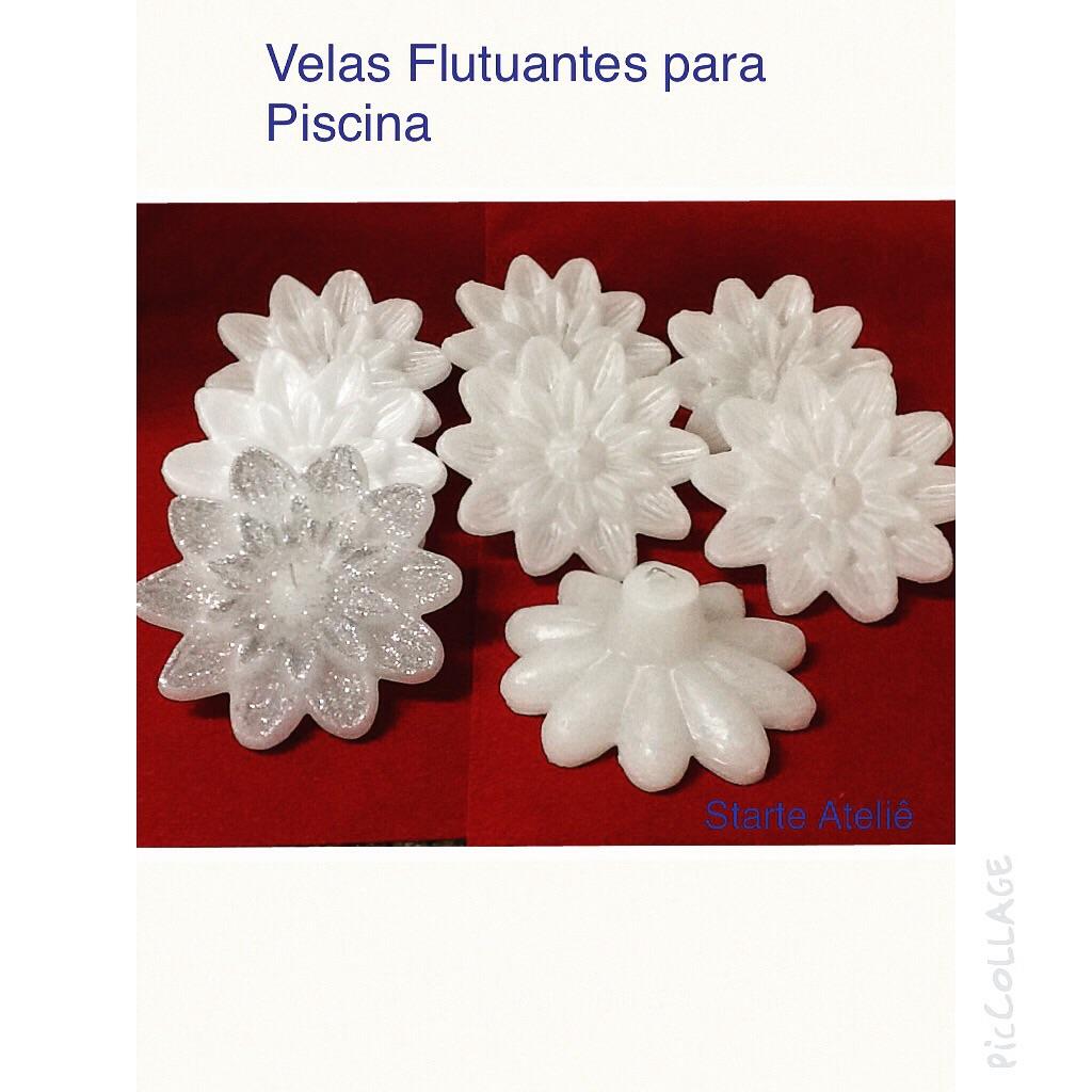 Velas flutuantes c glitter p piscinas starte ateli elo7 for Velas para piscinas