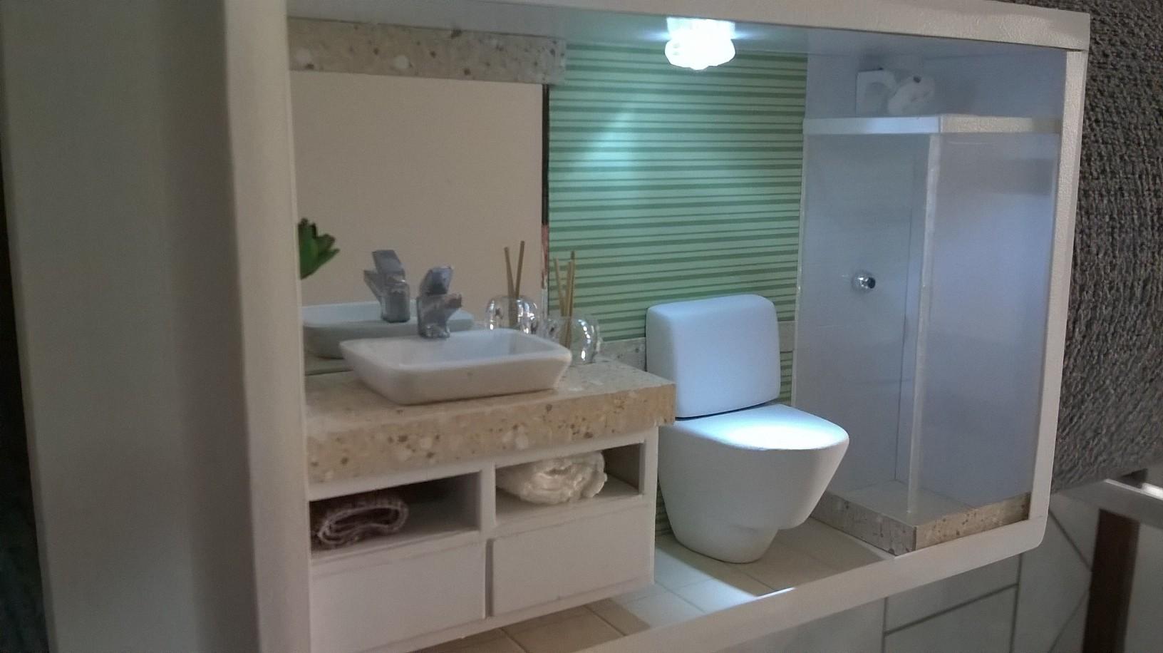 Quadro Cenário de banheiro com LED  Schimidt Artes  Elo7 -> Meu Banheiro Moderno