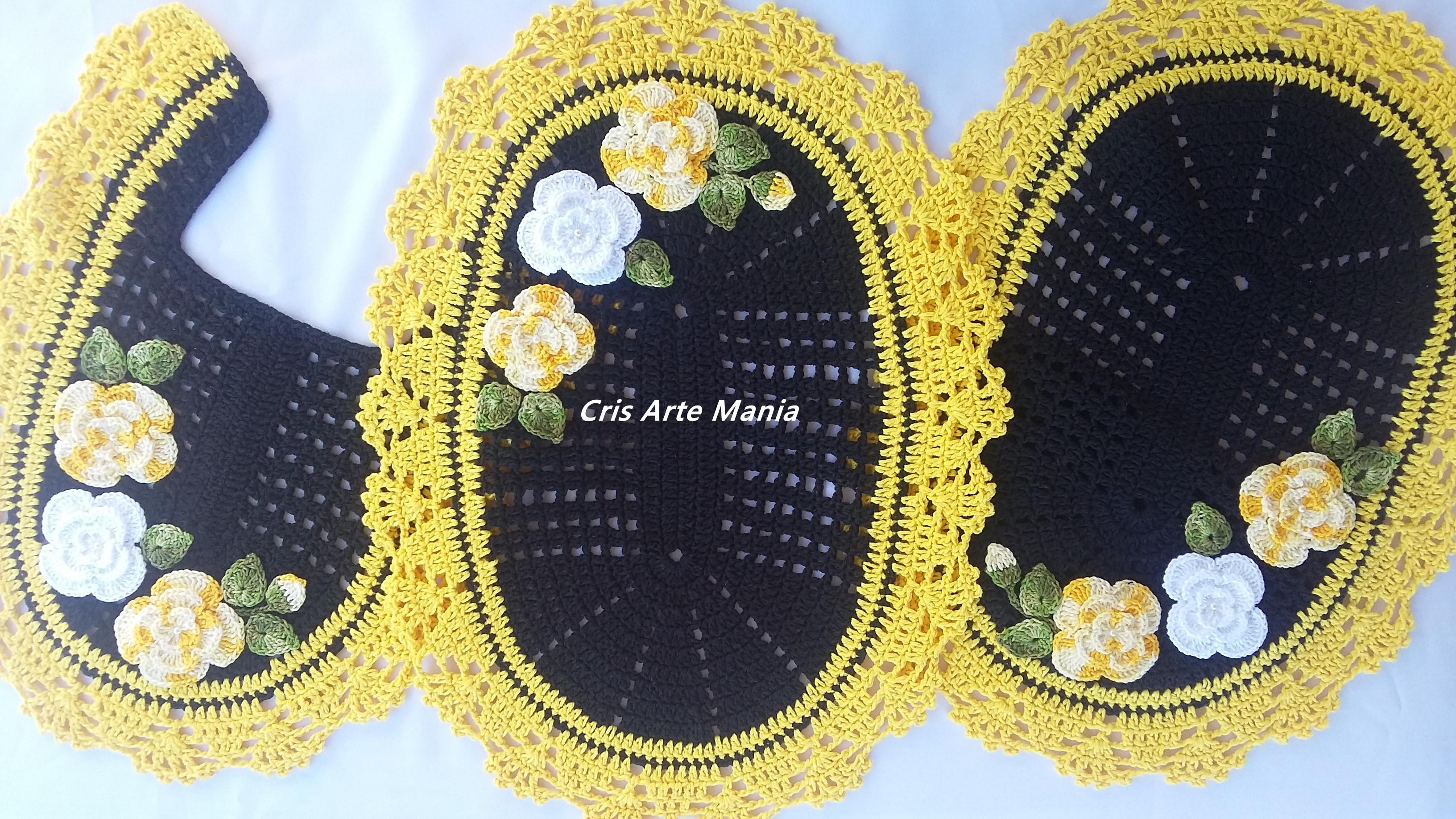 jogo de banheiro com flores aplicadas jogo de banheiro croche #A79624 3264x1836 Balança De Banheiro Frete Grátis