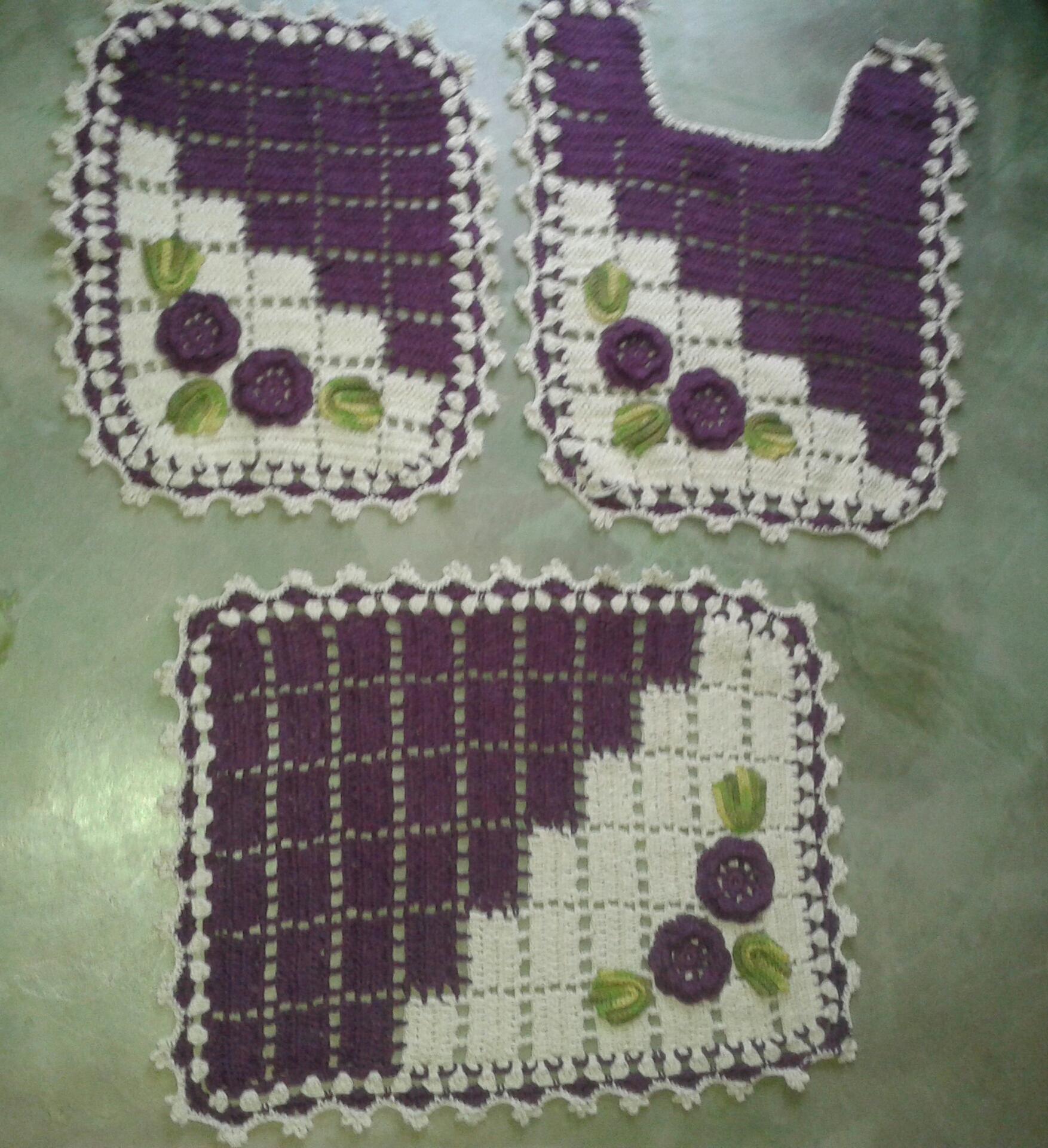 Jogo De Banheiro Quadrado Simples : Jogo banheiro simples de croche liusn obtenha uma