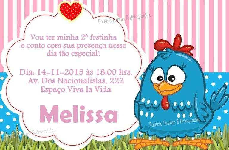 Convite Galinha Pintadinha Palácio Festas & Brinquedos