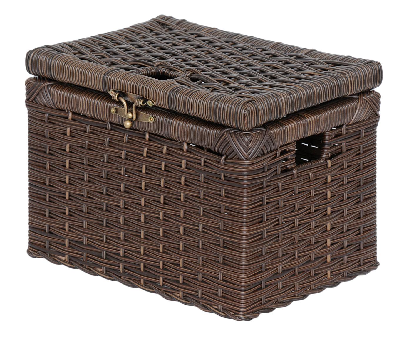caixa cesta com tampa fibra sintetica decoracao caixa cesta com tampa  #826C49 1392x1152