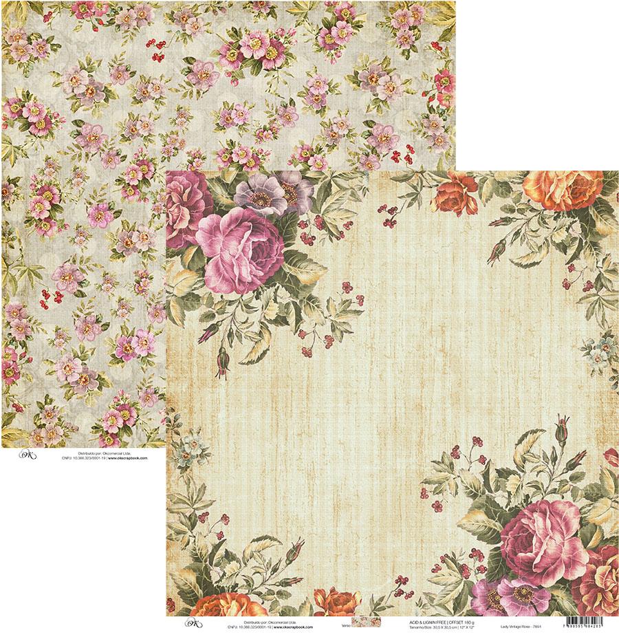 Papel scrap lady vintage rose simone cass scrapbook - Papel vintage pared ...