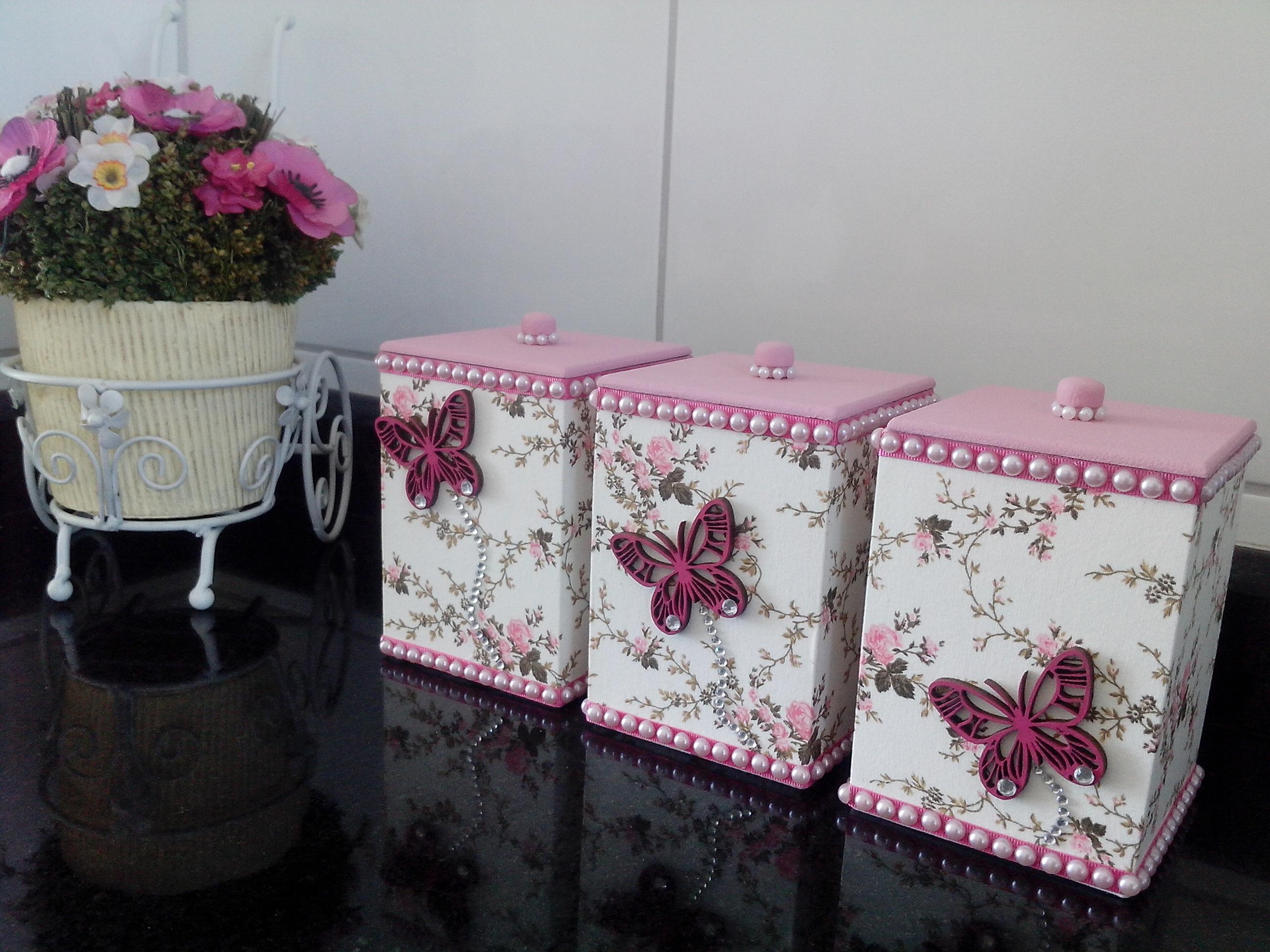 Armario De Cozinha Casas Bahia Bartira Carla ~ Kit Higiene 3 Potes Mdf LI&ARTES Elo7
