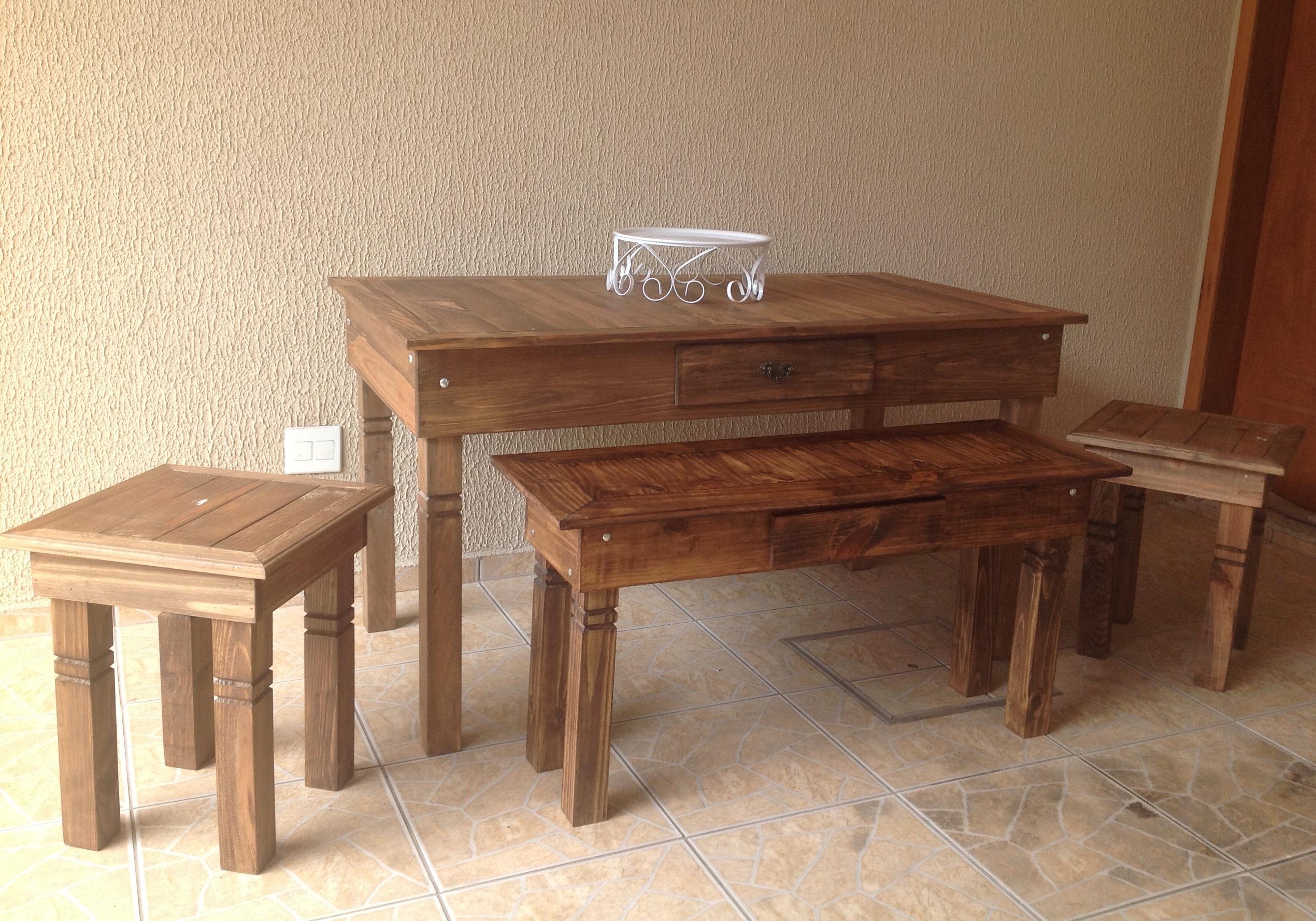 Loca o kit de mesa r stica lana festas e decora es elo7 - Mesa madera rustica ...