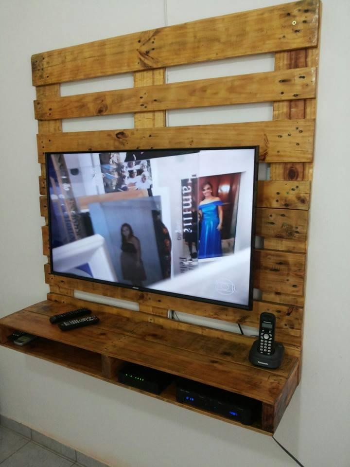 Painel Para Tv Com Nicho Em Pallets Ophicina Wood Art Elo7