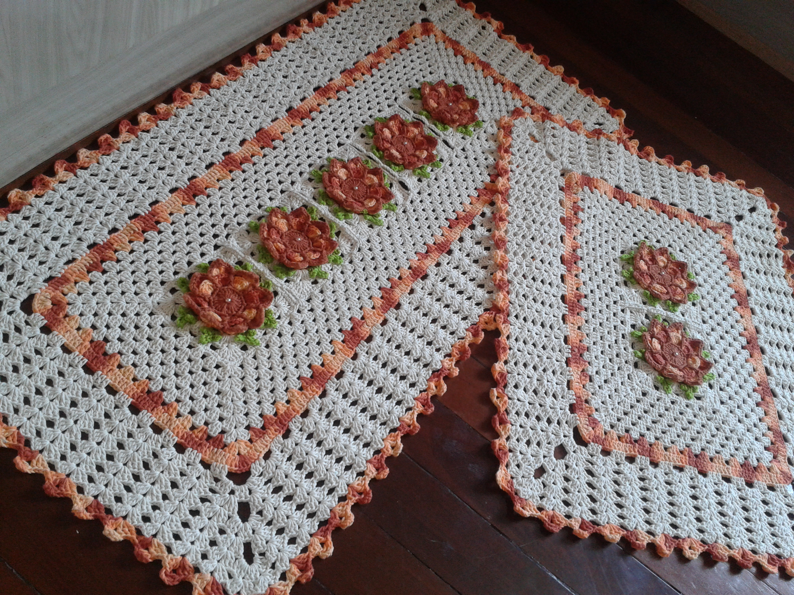 Tapetes de crochê para cozinha formato retangular