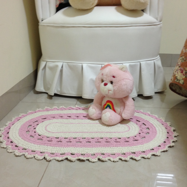 Tapete de croch rosa vera peixoto elo7 for Rosa tapete