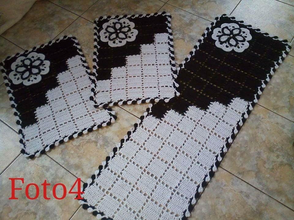 tapete de barbante de cozinha preto e branco