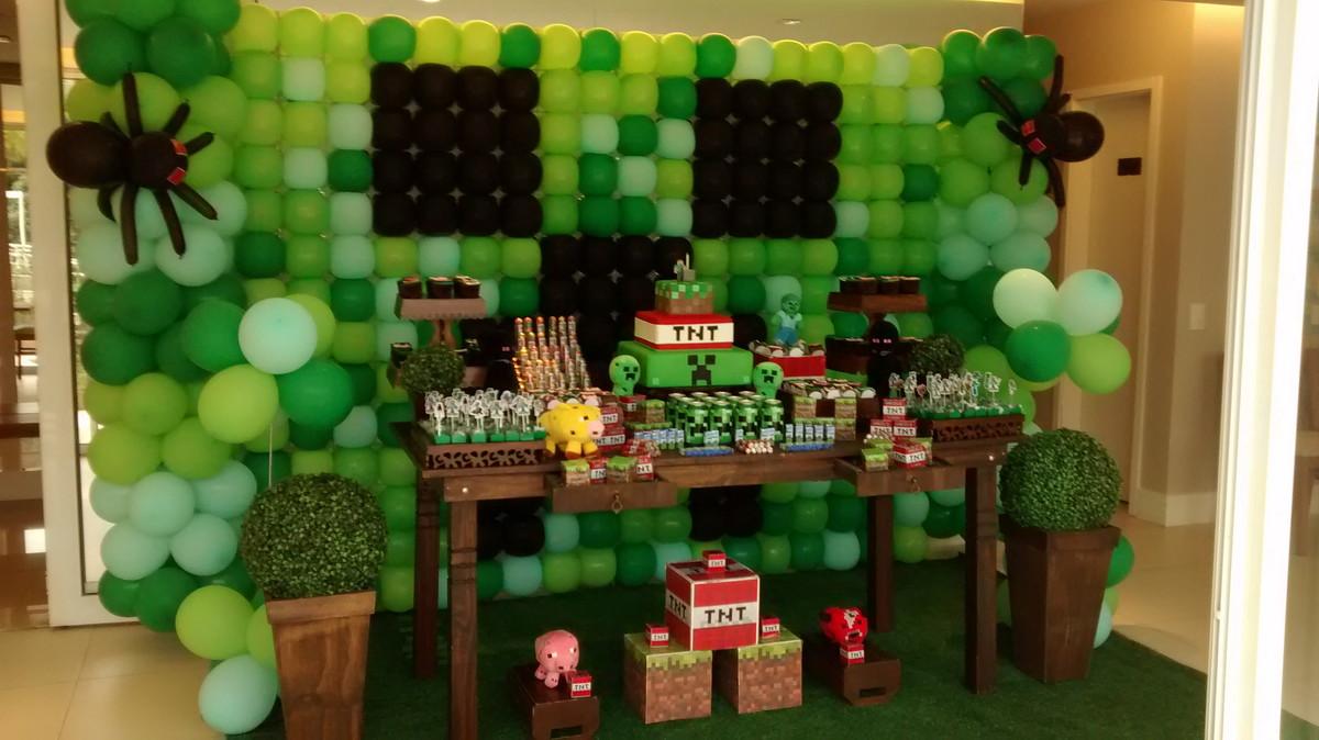 Decoração rústica Minecraft  Loc Cakes e festas  Elo7 -> Decoracao De Banheiro No Minecraft