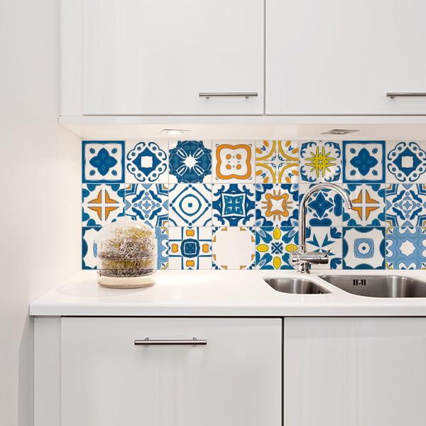 Adesivo azulejo 20x20 renascen a 24un quartinhos elo7 - Azulejos 20x20 colores ...