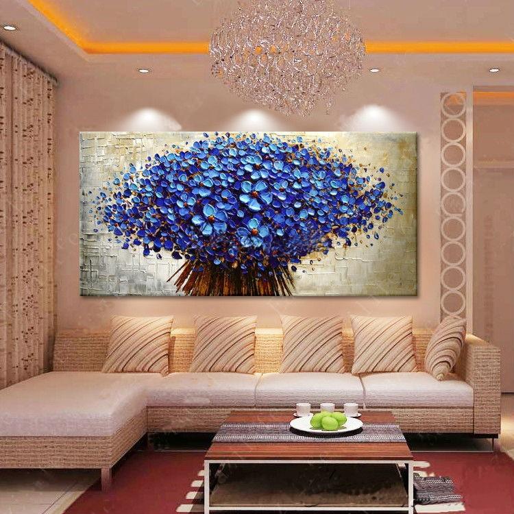 Pintura em tela buqu azul jk galeria de artes elo7 for Cuadros de decoracion baratos