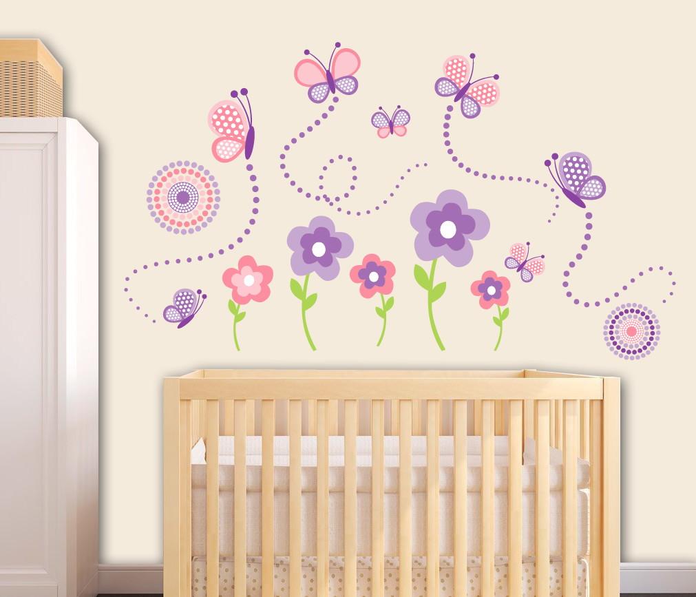 Adesivo de parede flores e borboletas Quarto de Criança  ~ Ver Adesivos De Parede Para Quarto