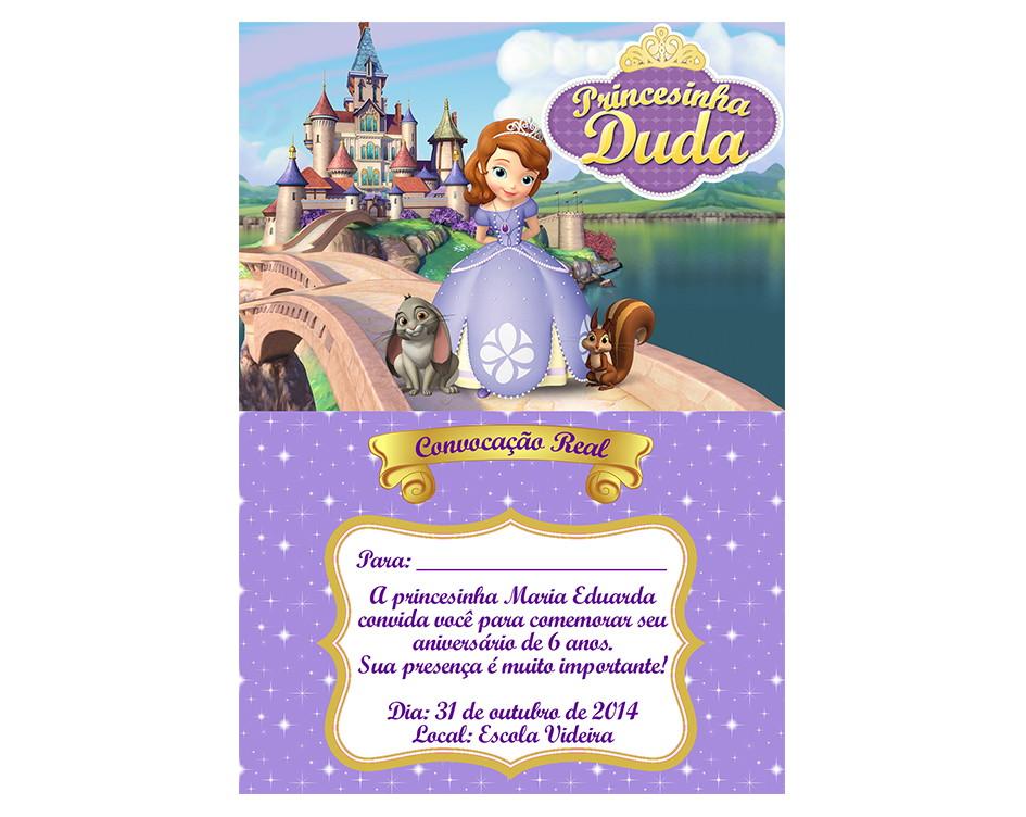 Arte Convite Princesa Sofia (digital) No Elo7