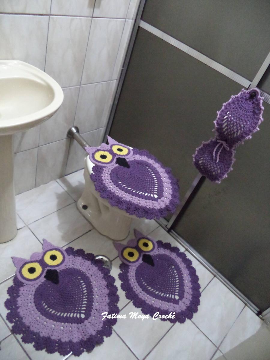 Jogo de Banheiro Corujinhas F?tima Moya Croch? Elo7