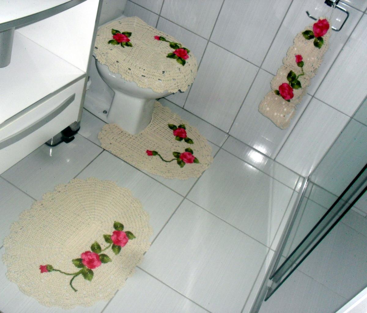 Kit Banheiro Em Tecido : Kit de tapetes florais para banheiro pintura em tecido e