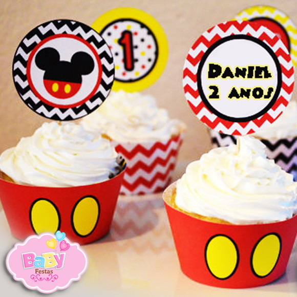 Topper E Saia Cupcake Mickey Mouse No Elo7