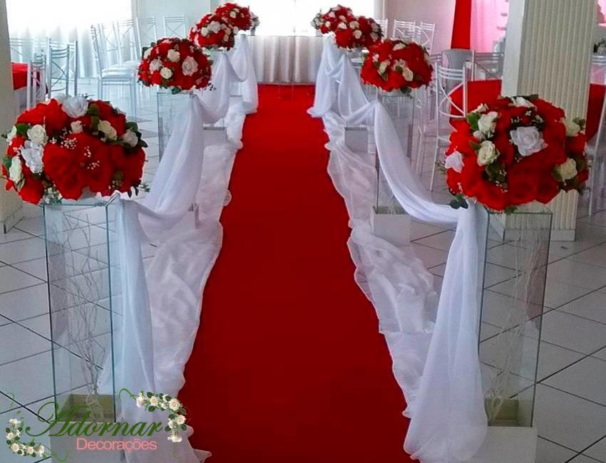 Decoraç u00e3o Cerim u00f4nia Casamento Vermelho Adornar Decorações Para Festas e Eventos Elo7 # Decoração De Casamento Vermelho E Branco Simples Na Igreja