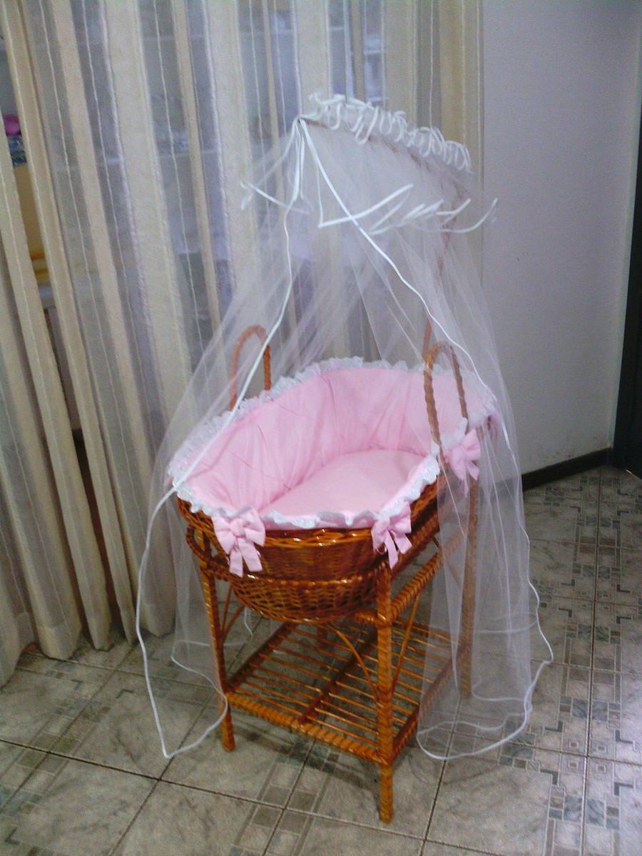 Kit cesto de vime rosa lacinhos atelier do beb elo7 - Cesto para mantas ...
