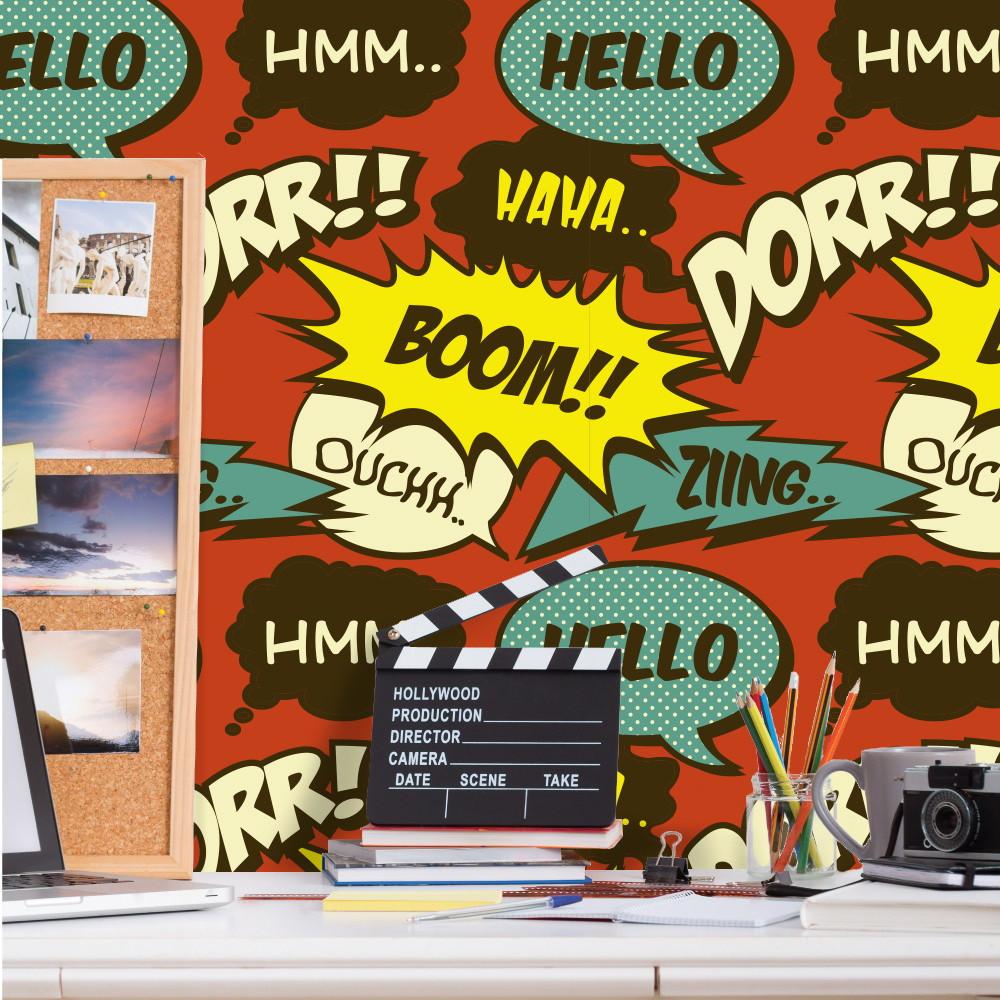 Papel de parede retro comic qcola elo7 - Papel pared comic ...