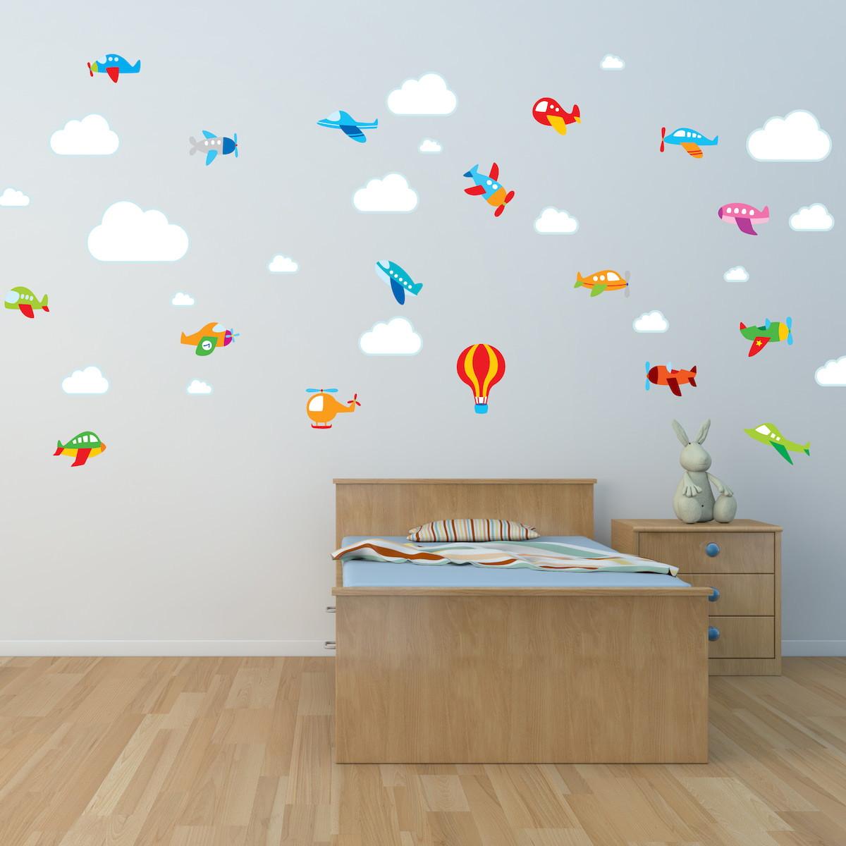 Adesivo de Parede Aviões Balão & Nuvens  Quartinhos  Elo7