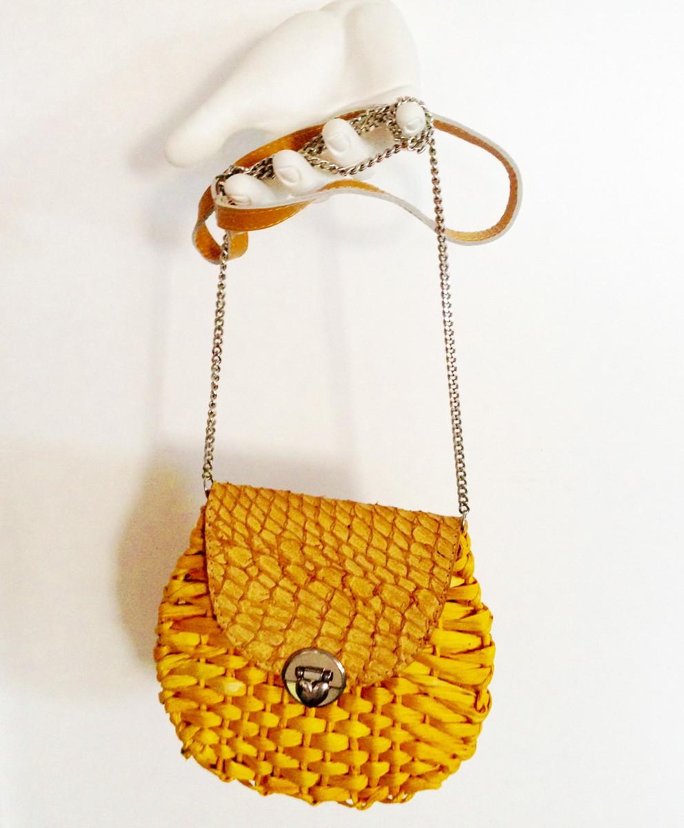Bolsa De Mão Amarela : Bolsa de palha amarela milho redonda patricia