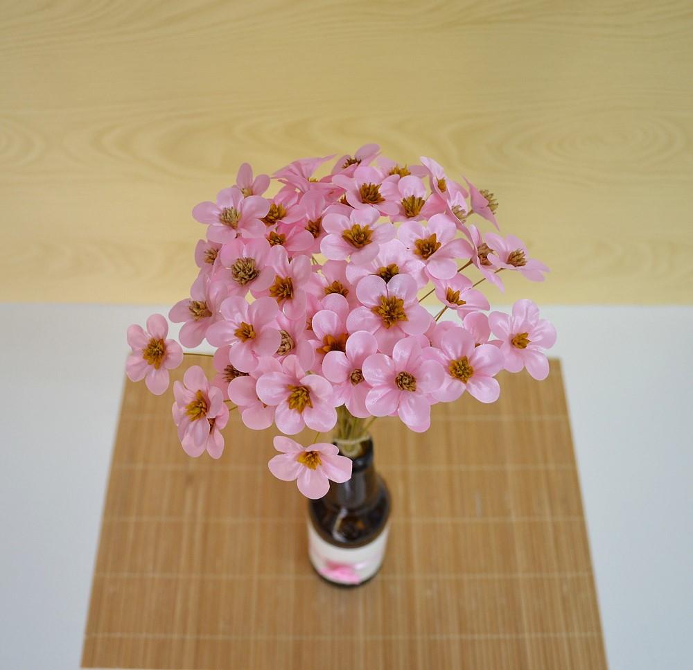 Flores de Tecido Rosa Decorar Garrafas Bebeca Artesanato Elo7 -> Como Decorar Mesa De Aniversario Com Flores