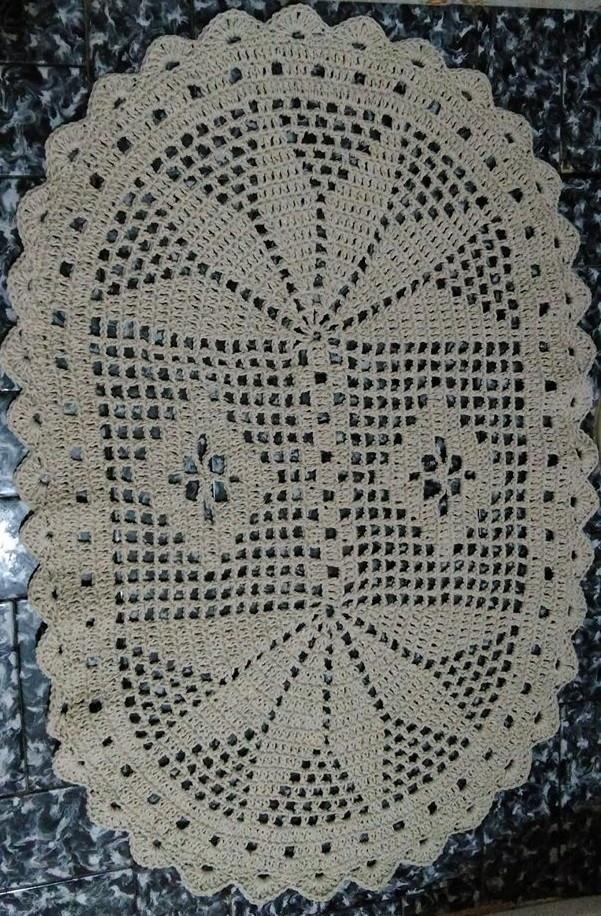 Jogo de Banheiro Crochê Oval Simples  Ateliê  Sonhos de Crochê  Elo7 -> Tapete Banheiro Simples