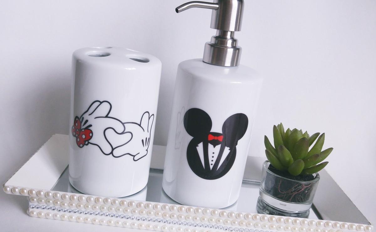 Kit Banheiro Porcelana Mickey : Kit banheiro saboneteira porta escova dasde artes