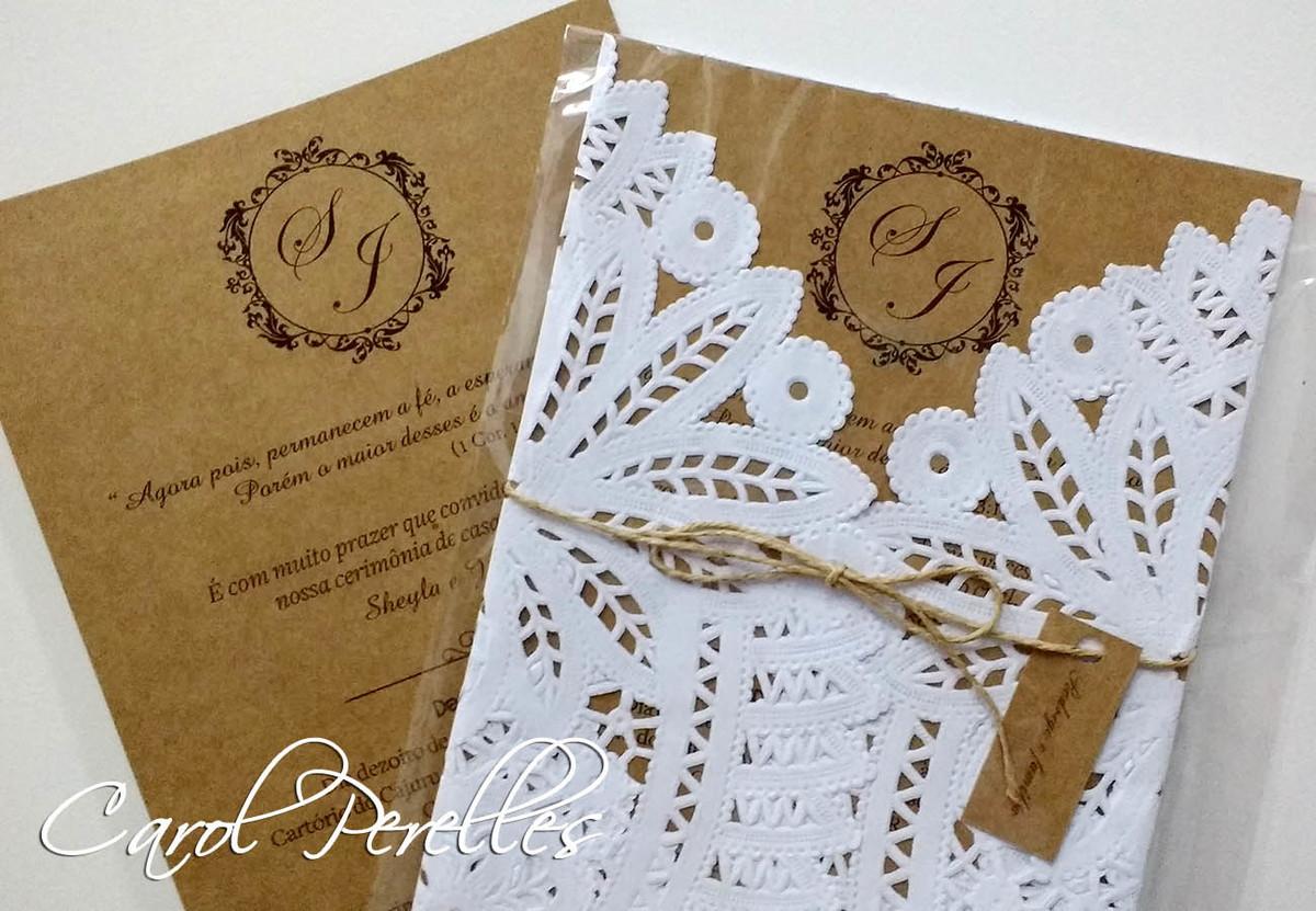 Convite de casamento kraft e renda atelier carol for Papel de pared rustico