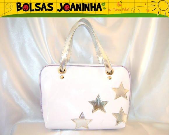 Bolsa de mao branca : Estrelas pratas bolsa m?o branca bolsas joaninha elo
