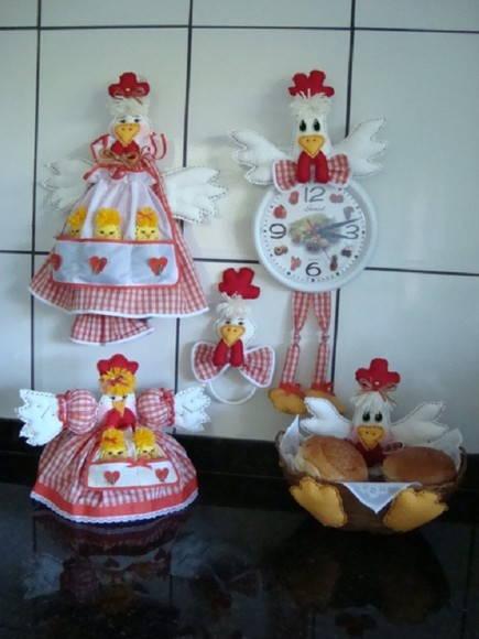 Kit de galinha para decorar cozinha (02)  JuArtes  Elo7