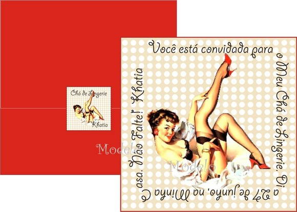 Convite Pin Up Ch� de Lingerie