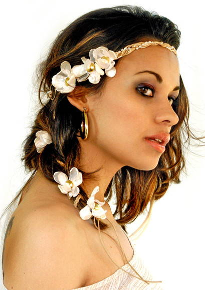 headband Lady Million flores  perola