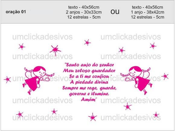 Armarios Fernando Mooca ~ adesivo oraç u00e3o santo anjo 01 Um click adesivos Elo7