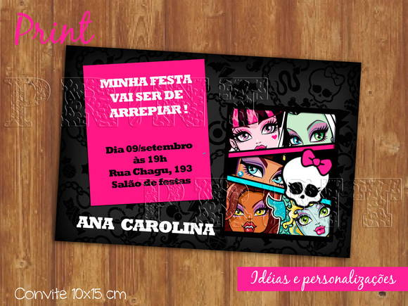 Convite monster high - ref 055