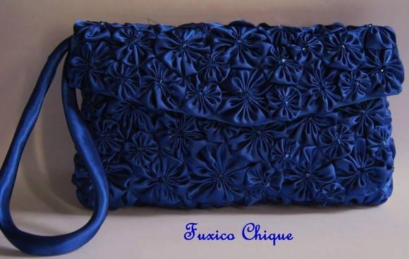 Bolsa De Mão Azul Royal : Pequena carteira azul royal fuxico chique by lina mounic
