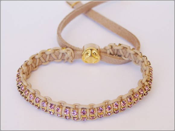 Pulseira Mini Strass Duo - Rosa