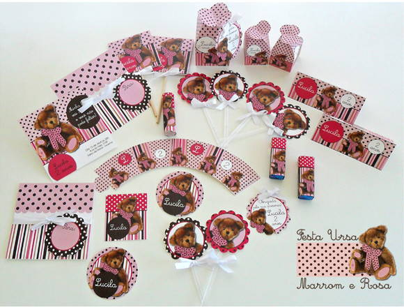 Kit Festa Person.Ursa Marrom com Rosa