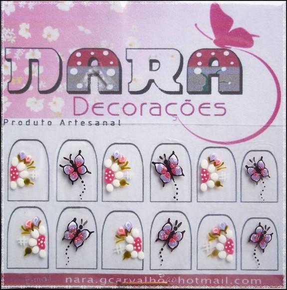 Artesanato Vila Do Conde ~ Adesivo de unha c borboleta Nara Decorações Elo7