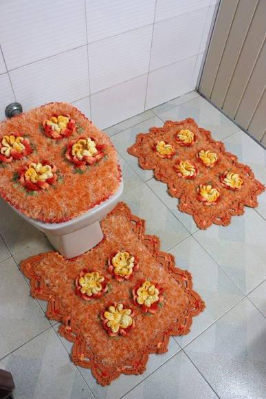 Jogo de banheiro laranja  Patricia crochetando  Elo7 -> Decoracao Banheiro Laranja