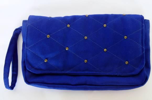 Bolsa De Festa Azul Bic : Bolsa de m?o verde fl?or e azul bic piquenique elo