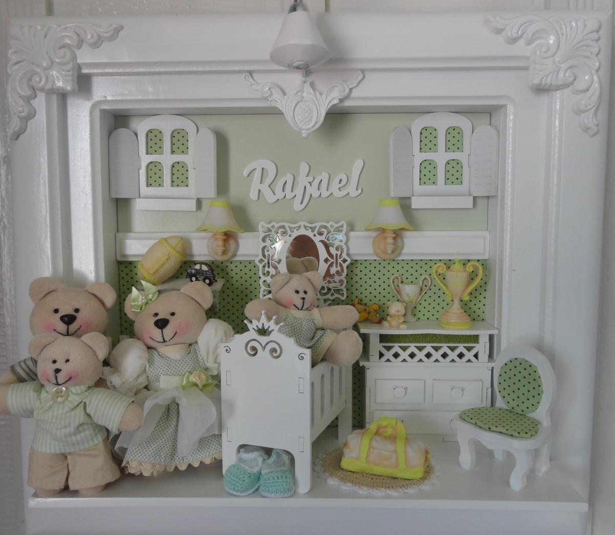 Quadro Maternidade Bebê Família Urso Bebê Feliz Quadros