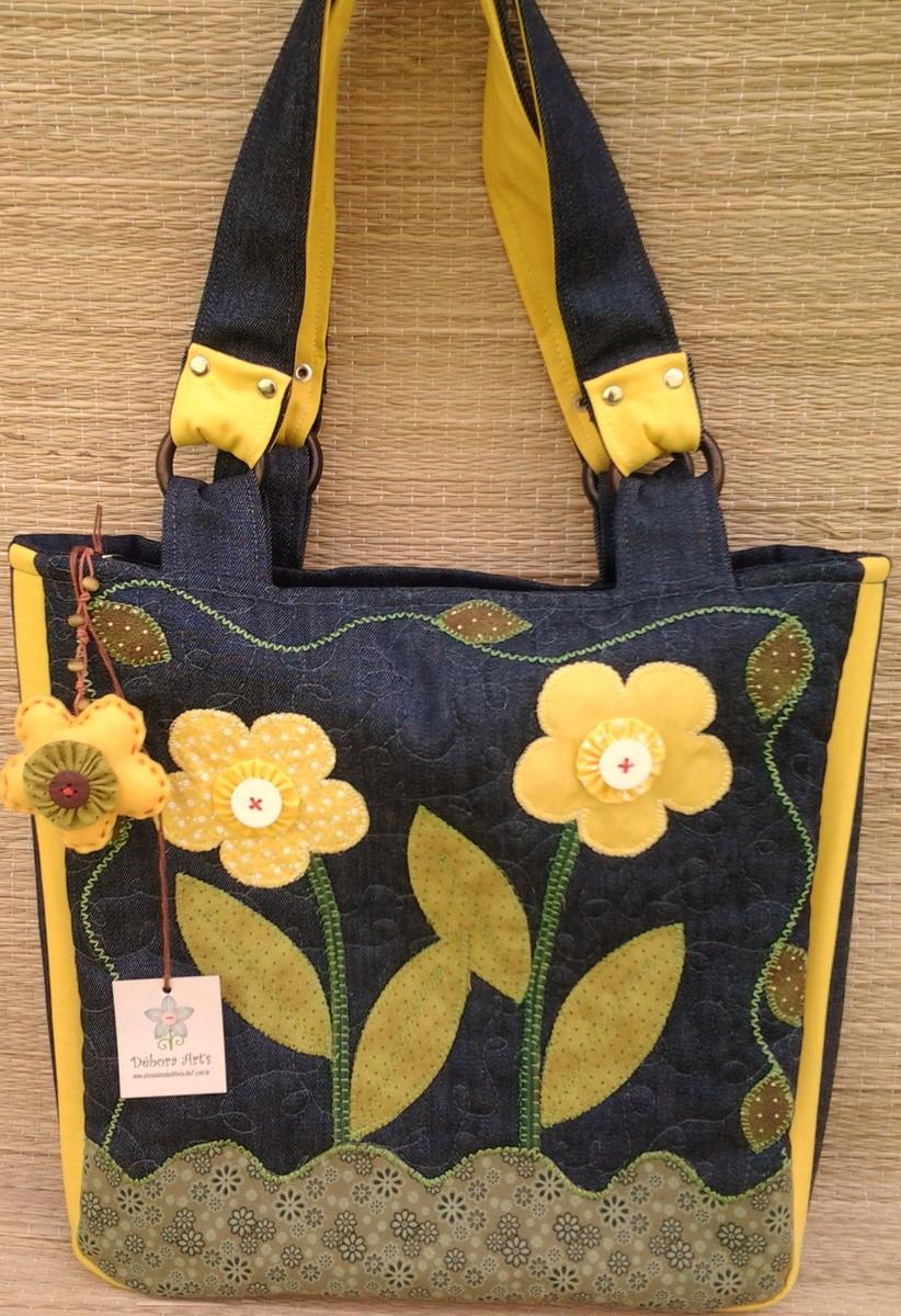Bolsa De Tecido Quiltada : Bolsa jeans flores amarelas d?bora art s elo