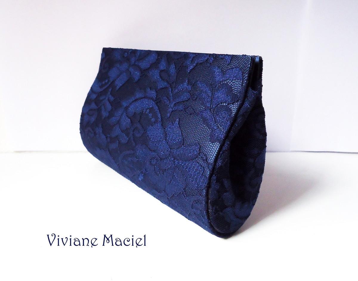Bolsa De Mao Azul Marinho : Carteira de m?o renda azul marinho vivi maciel elo