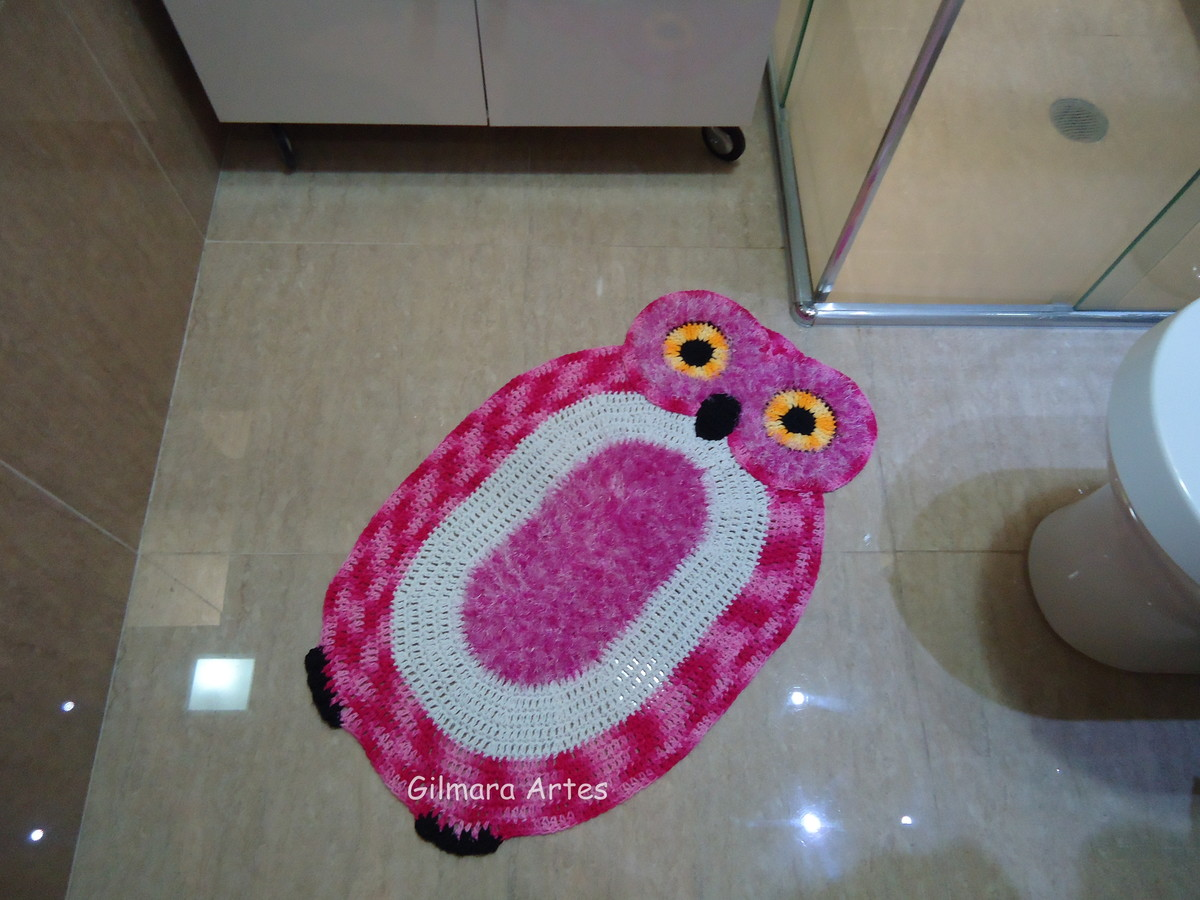 Tapete coruja 0 80 x 0 48 cm gilmara artes em croche for Rosa tapete
