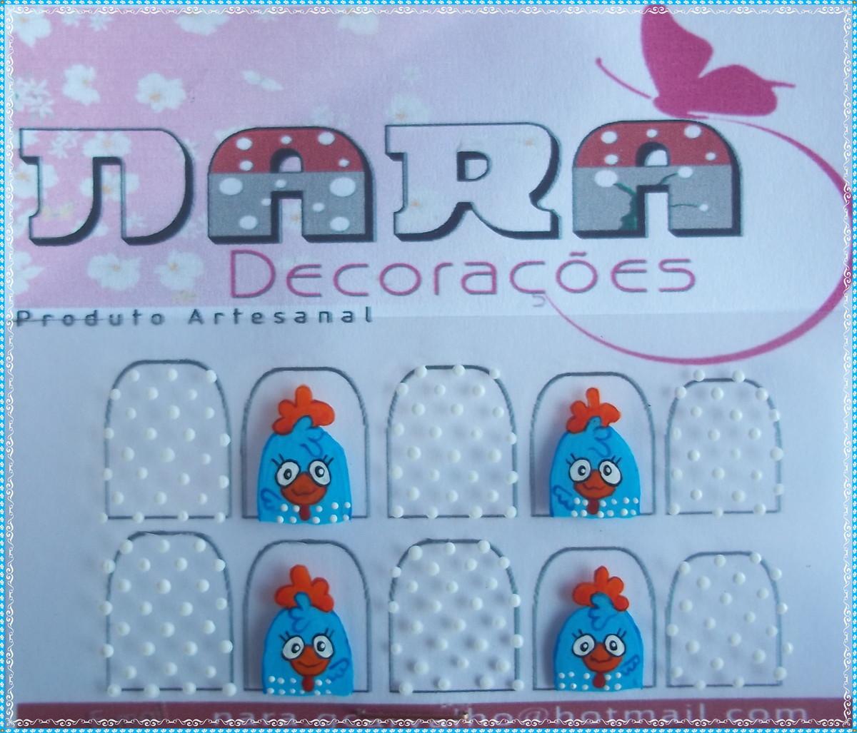Artesanato Tecido Chita ~ Adesivo De Unha galinha pintadinha Nara Decorações Elo7