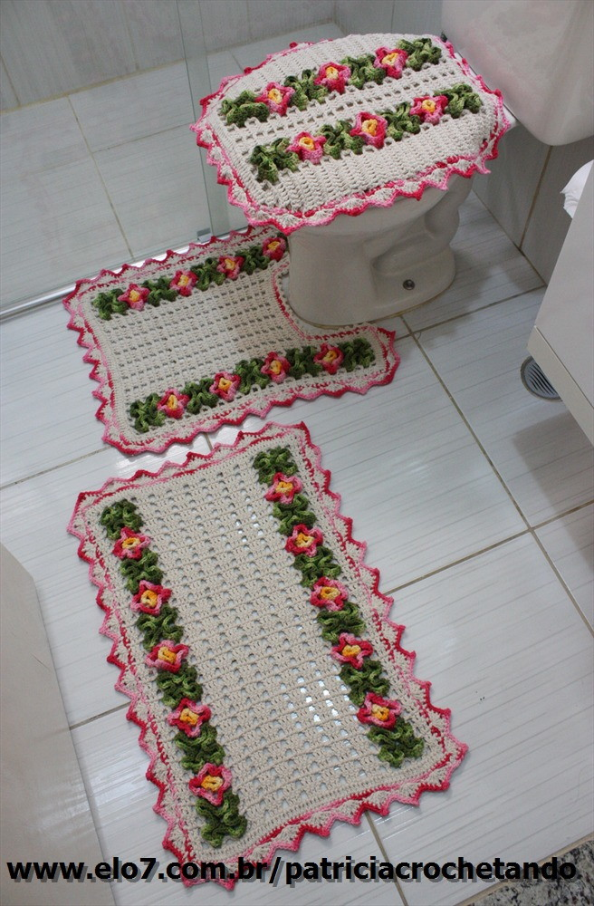 Jogo de banheiro Patricia crochetando Elo7